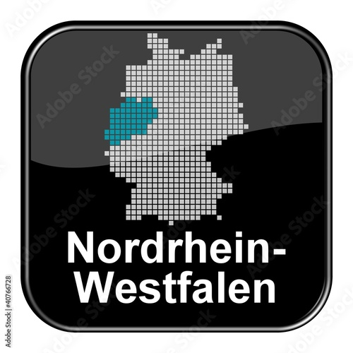Photo sur Toile Pixel Glossy Button - Deutschlandkarte: Bundesland Nordrhein-Westfalen