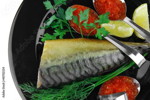 smoked mackerel on black