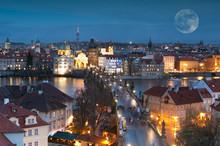 Night Panorama Of Prague, Czec...