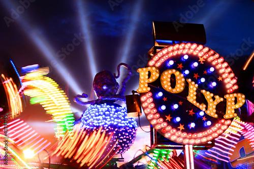 Poster Amusementspark Jahrmarkt krake