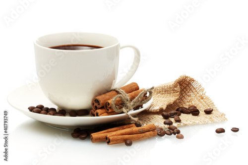 Fototapeta cup of coffee, beans and cinnamon sticks isolated on white obraz