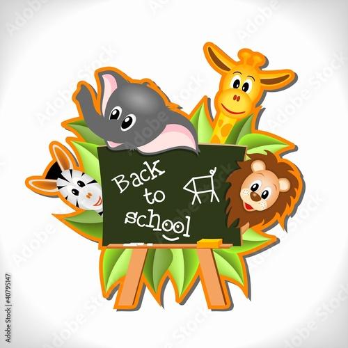 Poster de jardin Zoo animals with blackboard - back to school concept