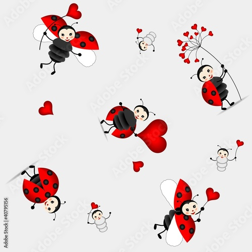 Poster Coccinelles seamless pattern with cute ladybird - vector
