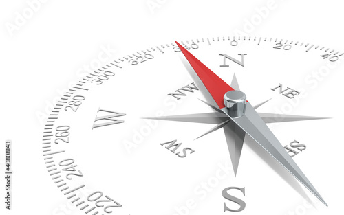 Direction. Abstract Perspective view of a steel compass dial. Fototapeta