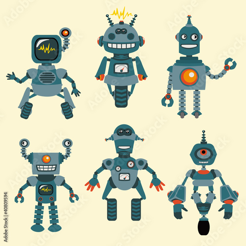Ingelijste posters Robots Cute little Robots Collection - in vector - set 1