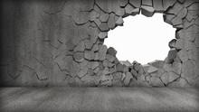 Grungy Broken Concrete Wall
