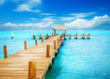 Fototapeta Bridge - Vacation in Tropic Paradise. Jetty on Isla Mujeres, Mexico