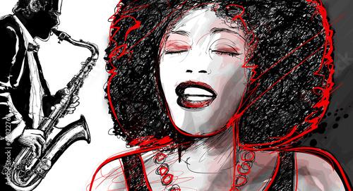 Staande foto Muziekband jazz singer and saxophone