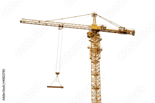 фотография yellow crane isolated on white