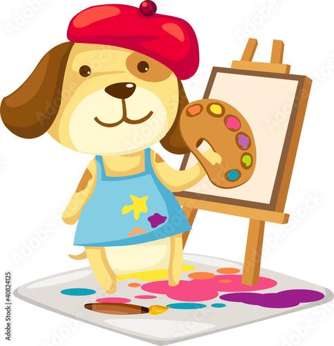Foto op Canvas Honden Cartoon artist dog