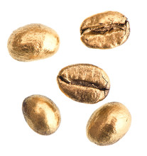 Golden Coffee Beans Isolated O...