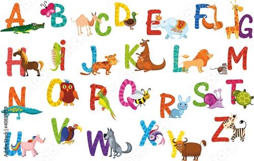 Naklejka premium alfabet zwierząt