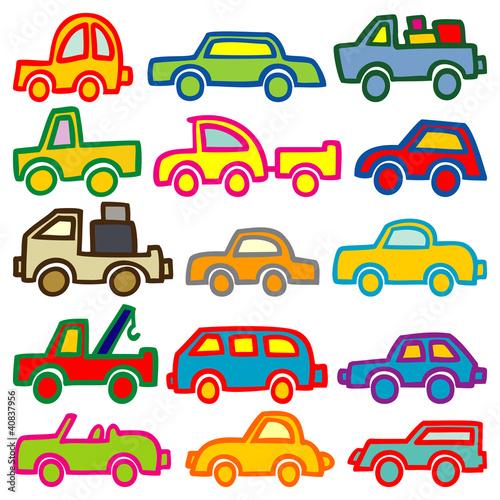 Foto op Aluminium Cartoon cars cars and trucks