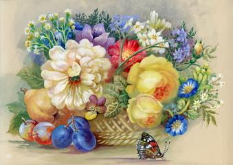 Obraz na płótnie Canvas Flowers and fruit
