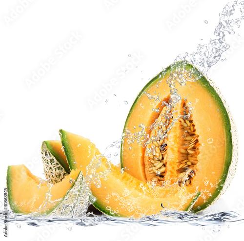 Poster Eclaboussures d eau melone splash