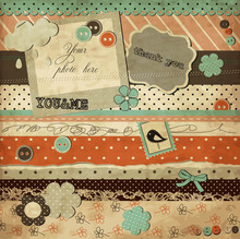 Scrap Template Of Vintage Worn Distressed Design With Frame