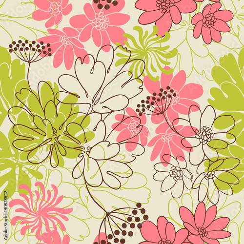 Tuinposter Abstract bloemen Vector background with hand drawn flowers. (Seamless Pattern)