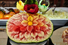Watermelon Carved In The Shape Of A Flower