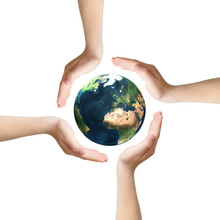 Four Hands Surrounding Earth, Clipping Path