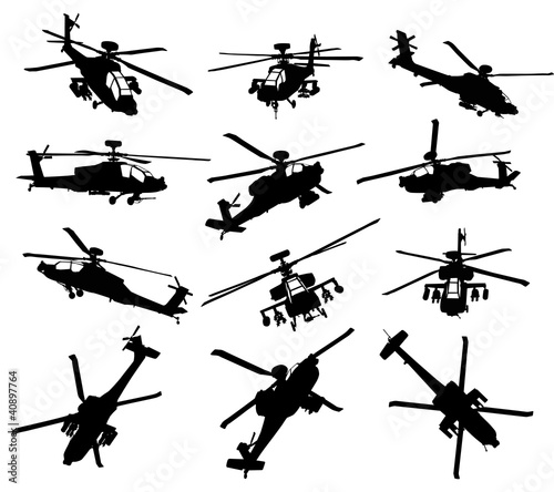 Helicopter silhouettes set Canvas Print
