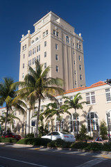 Fototapeta na wymiar Immeuble Art déco de Miami Beach en Floride