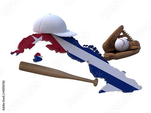 Fotografia, Obraz cuban map with flag, baseball hat, glove, ball and bat