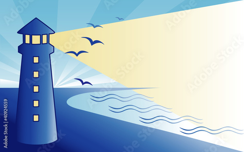 Poster Oiseaux, Abeilles Coast Lighthouse at dawn, seaside ocean landscape.