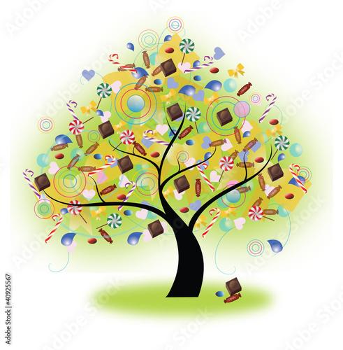 In de dag Regenboog Tree of Candy (vector)