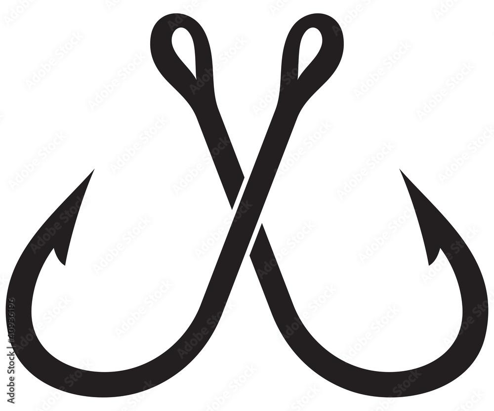 Fototapeta two crossed fishing hook