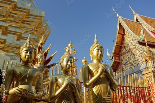 Poster Boeddha buddha statue and temple