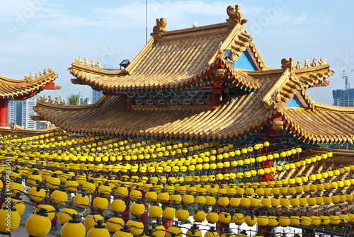 Yellow Lanterns Hanging at Temple Roof
