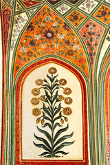 Fototapeta Detail of decorated gateway. Amber fort. Jaipur, India