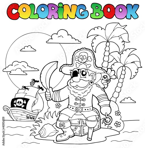 Spoed Foto op Canvas Doe het zelf Coloring book with pirate theme 4