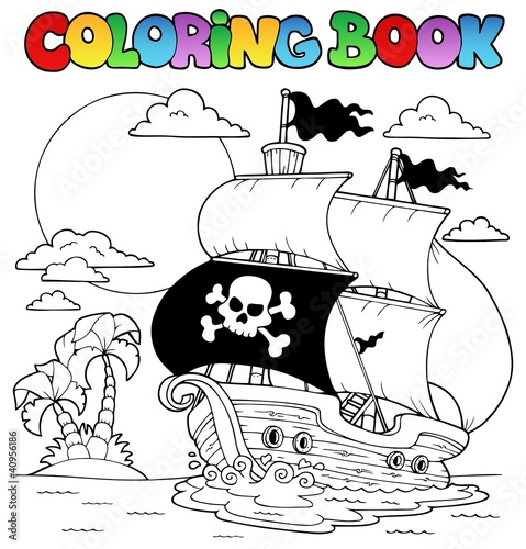 Spoed Foto op Canvas Doe het zelf Coloring book with pirate theme 7