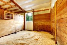 Horse Farm Empty Stable Interior.