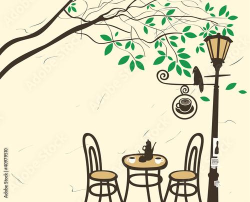 Aluminium Prints Drawn Street cafe Open-air cafe under a tree with a lantern