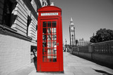 Fototapeta Londyn - Big Ben and Red Telephone Booth