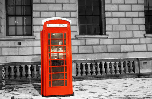 Poster Rouge, noir, blanc London Telephone Booth