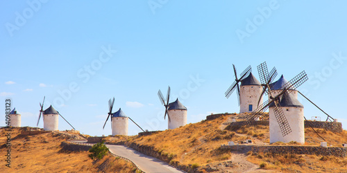 Windmills of Consuegra landmark, panorama. Castile La Mancha, Sp