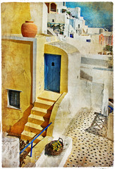 Plakat colors of Santorini -artistic picture