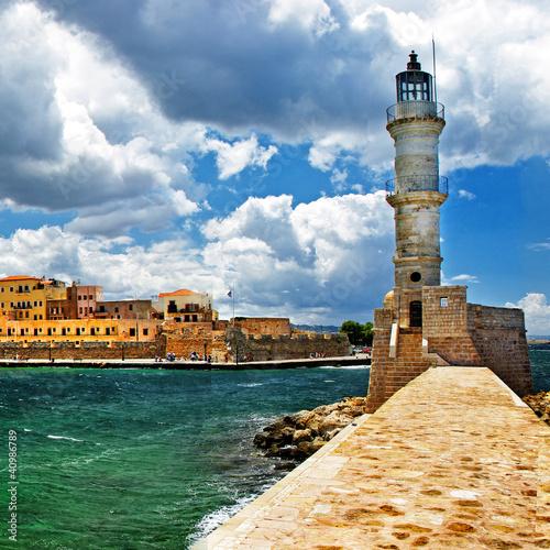 Plakat latarnia morska w porcie Chania, Kreta, Grecja