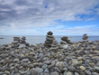 stacks - towers from pebbles on the beach