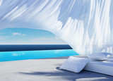 Curtain wind blow, lounge sofa bed, pool suumer holiday