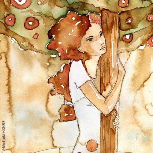 Wall Murals Painterly Inspiration przytulona do drzewa
