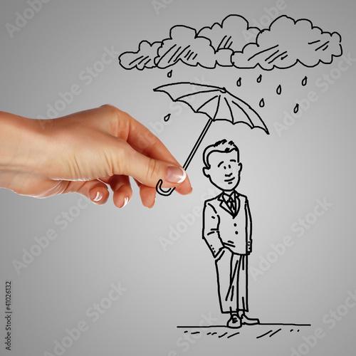 Fotografie, Obraz  Man under rain holding umbrella
