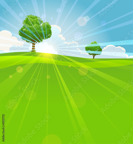 Tuinposter Pistache Summer landscape with trees
