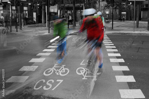 Poster Rouge, noir, blanc Bicycle Lane C48