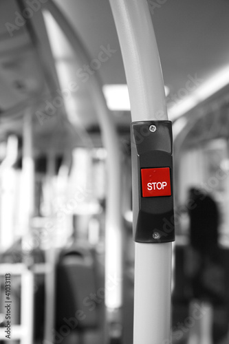 Poster Rouge, noir, blanc Bus Stop Button