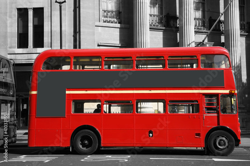 Foto op Canvas Rood, zwart, wit London Route Master Bus