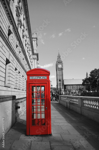 Foto op Canvas Rood, zwart, wit Big Ben and Red Phone Booth